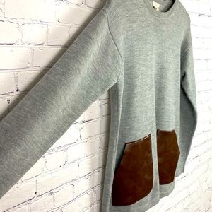 J. Crew Wool Sweater Faux Leather Pockets Oversize